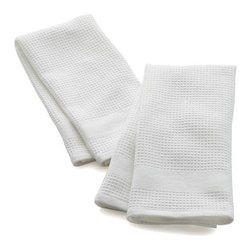 Set of 2 Waffle-Terry White Dishtowels - Thirsty, textural white towels are waffle on one side, terry on the other, each with handy hanging loop. The waffle face can be used for lint-free drying of delicate glassware lint free, the absorbent terry side for drying everything else.