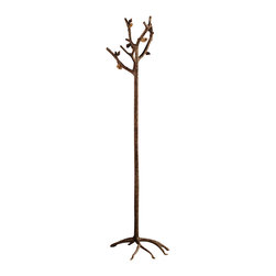 SPI - Bronze Finish Aluminum Pinecone Coat Rack - This rustic coat rack features sculptured gnarled aluminum pine tree branches accented with clusters of pine cones on the garment holders. The coat rack has a free standing base composed of sculpted tree roots. It has a lustrous, hand-polished bronze patina. It measures 68 inches tall, 19 1/2 inches in diameter when fully assembles