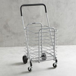 Polder® Folding Shopping Cart - Life meets style™ at the intersection of form and function courtesy of the bright minds at Polder® Housewares. Sturdy yet lightweight aluminum shopping cart rolls easy with front wheels that rotate a full 360 degrees for easy steering. Cart holds up to 30lbs. and folds flat with a simple lift motion for easy portability and storage.
