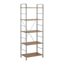 "Adesso - Joy Wood Shelf - Aluminum powder coated double tube frame with natural paper veneer MDF wood shelves. 67"" Height, 25"" Width, 15"" Depth. Assembly required."