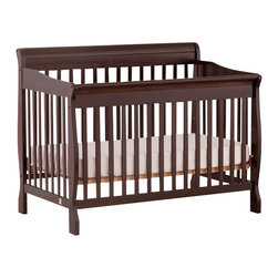 Stork Craft - Stork Craft Modena 4 in 1 Fixed Side Convertible Crib in Espresso - Stork Craft - Cribs - 04587459 - Offering classic comfort and style the Modena crib will grow with your baby in a few simple steps.  Inclusive of a toddler rail this versatile crib converts to a toddler bed daybed and finally to a full-size bed.  With its classic sleigh design and solid construction the Modena combines form and function to ensure your child a safe and restful sleep.
