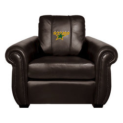 Dreamseat Inc. - Dallas Stars NHL Chesapeake Brown Leather Arm Chair - Check out this Awesome Arm Chair. It's the ultimate in traditional styled home leather furniture, and it's one of the coolest things we've ever seen. This is unbelievably comfortable - once you're in it, you won't want to get up. Features a zip-in-zip-out logo panel embroidered with 70,000 stitches. Converts from a solid color to custom-logo furniture in seconds - perfect for a shared or multi-purpose room. Root for several teams? Simply swap the panels out when the seasons change. This is a true statement piece that is perfect for your Man Cave, Game Room, basement or garage.