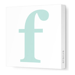 "Avalisa - Letter - Lower Case 'f' Stretched Wall Art, 28"" x 28"", Aqua - Spell it out loud. These lowercase letters on stretched canvas would look wonderful in a nursery touting your little one's name, but don't stop there; they could work most anywhere in the home you'd like to add some playful text to the walls. Mix and match colors for a truly fun feel or stick to one color for a more uniform look."