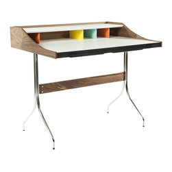 Stilnovo Nelson Inspired Walnut Swag Desk - The Swag Desk has a solid wood frame finished with a walnut stain. Supported by stainless steel legs, the work surface has a large white desktop and is backed by small cubbies under a white shelf. Under the desk surface are two shallow drawers.