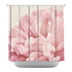 DiaNoche Designs - Peony Shower Curtain - Sewn reinforced holes for shower curtain rings. Shower curtain rings not included. Dye Sublimation printing adheres the ink to the material for long life and durability. Machine washable. Made in USA.
