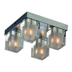 ET2 - ET2 E22038 Blocs 4-Bulb Flush Mount Indoor Ceiling Fixture - Glass Shade Include - Product Features: