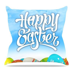 """KESS InHouse - KESS Original """"Happy Easter II"""" Springtime Throw Pillow, Indoor, 20""""x20"""" - Rest among the art you love. Transform your hang out room into a hip gallery, that's also comfortable. With this pillow you can create an environment that reflects your unique style. It's amazing what a throw pillow can do to complete a room. (Kess InHouse is not responsible for pillow fighting that may occur as the result of creative stimulation)."""
