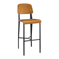 LexMod - Cabin Bar Stool in Walnut Black - Submerge your land-bound activities into a cascading piece fit for your transitional seating needs. The Cabin modern bar stool combines a molded bentwood back and waterfall seat, with a fluid form that imbues both an airy and streamlined feel. Cabin's powder coated metal frame is solidly constructed to service your needs time and again from light refreshments, through extended dialogues.