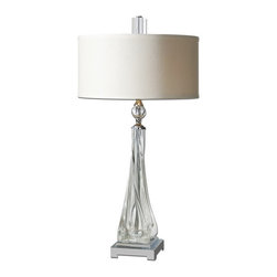 Uttermost - Uttermost 26294-1  Grancona Twisted Glass Table Lamp - Thick, twisted glass base with polished nickel details and crystal accents. the round, hardback drum shade is a off white linen fabric.