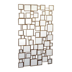 Two's Company - Facets Multi Square Wall Mirror - Features:Material: Iron. Dimensions:Overall Dimensions: 47.25'' Height x 30'' Width x 1'' Depth. Looking glasses have the power to transform a room by creating reflection and multiplying light. Stunningly decorative, this contemporary square wall mirror functions more as a piece of art than a traditional mirror.