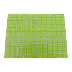 """Loft Electric Lime Glass Tiles - Loft Electric Lime 1 x 1 Glass Tile Add a happy bursts of color to any room with this beautiful glass tile. This colorful design will give your kitchen, bathroom or any decorated room a bright, fresh look. Chip Size: 1x1 Color: Lime Green Material: Glass Finish: Polished Sold by the Sheet - each sheet measures 12"""" x 12"""" (1 sq. ft.) Thickness: 8mm"""