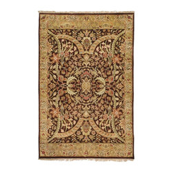 """Surya - Traditional Taj Mahal Sample 1'6""""x1'6"""" Sample Brown-Beige  Area Rug - The Taj Mahal area rug Collection offers an affordable assortment of Traditional stylings. Taj Mahal features a blend of natural Brown-Beige  color. Hand Knotted of 100% Semi-Worsted New Zealand Wool the Taj Mahal Collection is an intriguing compliment to any decor."""