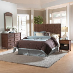 Hospitality Rattan Padre Island Woven 4 Piece Set - All that's missing from the Hospitality Rattan Padre Island Woven 4 Piece Set's island vibe is a balmy Caribbean breeze. Crafted with durable, all natural woven rattan and wicker, each piece of this casual bedroom set - a headboard, a nightstand, a dresser, and a mirror - is light and easy. Smooth metal glides make the nightstand and dresser drawers easy to open, and the oversized, wood-framed mirror lends depth to any space. Twin, queen, and king headboard sizes available.Headboard DimensionsTwin: 41W x 3D x 55H inchesQueen: 73W x 3D x 55H inchesKing: 80W x 3D x 55H inchesComponent DimensionsNightstand: 22W x 20D x 24H inchesDresser: 52W x 20D x 35H inchesMirror: 28W x 1.25D x 46H inchesAbout Hospitality RattanHospitality Rattan has been a leading manufacturer and distributor of contract quality rattan, wicker, and bamboo furnishings since 2000. The company's product lines have become dominant in the Casual Rattan, Wicker, and Outdoor Markets because of their quality construction, variety, and attractive design. Designed for buyers who appreciate upscale furniture with a tropical feel, Hospitality Rattan offers a range of indoor and outdoor collections featuring all-aluminum frames woven with Viro or Rehau synthetic wicker fiber that will not fade or crack when subjected to the elements. Hospitality Rattan furniture is manufactured to hospitality specifications and quality standards, which exceed the standards for residential use.