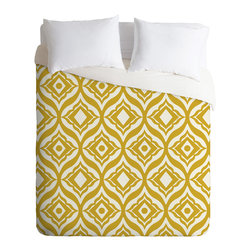 DENY Designs - Heather Dutton Trevino Yellow Duvet Cover - Turn your basic, boring down comforter into the super stylish focal point of your bedroom. Our Luxe Duvet is made from a heavy-weight luxurious woven polyester with a 50% cotton/50% polyester cream bottom. It also includes a hidden zipper with interior corner ties to secure your comforter. it's comfy, fade-resistant, and custom printed for each and every customer.