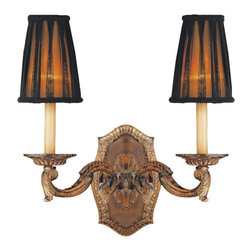 2 Lights Vintage Brass and Brownish Linen Shade Sconce - A good understanding of symmetrical aesthetics is presented in this lamp. The intricate brass carving styling gives a vintage appeal and ensures quality, and two bulbs ensure sufficient illumination. Good combination of the black bow decorated brownish fabric shade and antique brass finish color make this a cool bit of decor for your living room or bedroom.