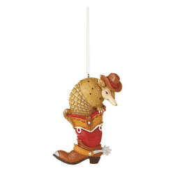 Midwest CBK - Armadillo in Western Cowboy Boot Christmas Tree Ornament - Texas Holiday Gift - Western Armadillo in a Cowboy Boot Christmas Ornament