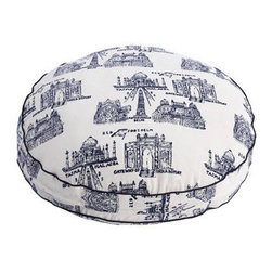 Taj Mahal Dog Bed by John Robshaw - Bring a bit of Agra to your home with this Taj Mahal dog bed from John Robshaw. While designed for canines, it makes a striking floor cushion for people as well.