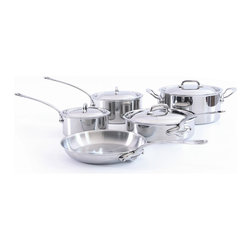 Mauviel M'cook Stainless Steel 9 Piece Cookware Set - The Mauviel M'cook 9 Piece Cookware Set offers professionals and household cooks the highest culinary technology. Five layers of materials provide perfect conductivity for each product thanks to fast and uniform heat distribution. The handles are made from cast stainless steel and reinforce the pure and modern design of this range. Each piece of Mauviel cookware is handcrafted in France. Set Includes 1.2 qt Saucepan (5210.15) 1.2 qt Saucepan lid 2.7 qt Saucepan (5210.19) 2.7 qt Saucepan lid 3.4 qt Saute pan with helper handle (5211.25) 3.4 qt Saute pan lid 9.5 in Round Frying Pan / Skillet (5213.24) 6.4 qt Stew pot / Dutch Oven (5215.24) 6.4 qt Stew pot / Dutch Oven lid