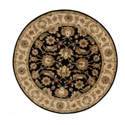 Jaipur Rugs - Jaipur Rugs Hand-Tufted Oriental Wool Black/Tan Round Area Rug, 10 x 10ft - Sublime hues and graceful lines accentuate the traditional pattern motifs in Mythos, an elegant and value-driven range of durable, hand-tufted area rugs. This sophisticated collection is for the discriminating consumer with a passion for traditional design, at prices that answer every budget. The Mythos Collection is tradition, redefined.