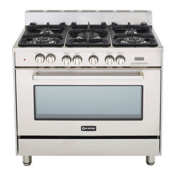 "Verona 36"" Dual Fuel Range - Verona 36"" Duel Fuel Range.  Features a multi-function convection oven that can be controlled with a touch control digital clock and timer.  5 high BTU sealed burners with removable cast-iron grates and caps.  Full-width storage compartment."