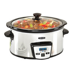 Bella - Bella Stainless Steel 5-quart Programmable Slow Cooker - Cook meals for your entire family with the Bella programmable slow cooker that can go with anywhere from 30 minutes to 20 hours. With variable temperature settings,you'll be able to cook up to a five pound roast in this stoneware pot.