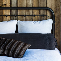 """Bella Notte - Bella Notte Decorative Bolster Pillow Homespun with Crochet Lace - Bella Notte offers luxurious, eco-friendly linens and decor in custom-dyed colors and irresistible textures. Beautifully crocheted lace trim lends a touch of romance to the Homespun decorative bolster pillow for a classic bedroom accent. Available in several rich shades, this cylinder bedding layer is crafted from heavy linen mesh and finished with 3/4"""" linen ties. Each order is custom made in the USA and considered a final sale. Made from 100% linen (exclusive of trim). Machine wash. Includes 95/5 feather down insert. 50""""W x 11""""H."""