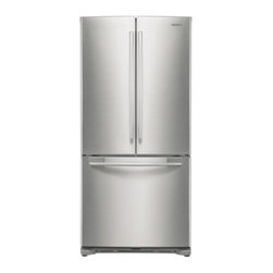 "Samsung - RF197ACPN 33"" 17.8 cu. ft. Counter-Depth French Door Refrigerator with 3 Adjusta - The Samsung Appliance RF197AC 178 Cu Ft French door refrigerator in stainless steel keeps your food fresher longer with Twin Cooling technology Ice maker produces 4 lbs of ice per day Enjoy tremendous flexibility in food storage with large door bins ..."