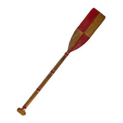"""Red Oar Coat Rack - The red oar coat rack measures 6 x 47.25"""". We've used signal flag designs on oar paddles to make attractive, sturdy coat racks. Four wood knobs for hanging coats and packs. Perfect for lil' captains to hang their cap."""