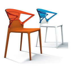Ego-K Armchair (set of 4) by Plastix / Papatya - Not yesterday's plastic chairs, these modern armchairs have great style and elegance in a polypropylene and polycarbonate body. Think swanky outdoor dining and lively after-dinner conversations. These chairs will certainly play well in this setting.