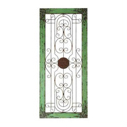 UMA - Antique Green Wall Grille - A distressed green frame encloses a wonderfully scrolled and symmetrical iron grille