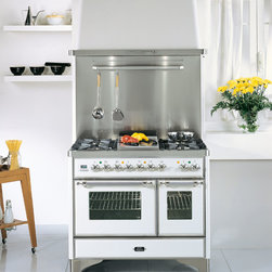 "ILVE Majestic Collection - ILVE Majestic 40"" Dual Fuel, Double Oven Range.  Pictured in True White with Chrome Trim.  Also available in 6 additional colors and 2 additional trim options.  Equipped with 5 high BTU burners plus a removable griddle top accessory, double multi-function convection ovens, rotisserie, full-size warming drawer and digital clock and timer.  Also pictured with color matched range hood and stainless steel backsplash."