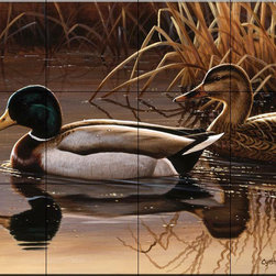 The Tile Mural Store (USA) - Tile Mural - Quiet Couple - Cf - Kitchen Backsplash Ideas - This beautiful artwork by Cynthie Fisher has been digitally reproduced for tiles and depicts a pair of ducks sitting in a lake.  Images of waterfowl on tiles are great to use as a part of your kitchen backsplash tile project or your tub and shower surround bathroom tile project. Pictures of egrets on tile, images of herons on tile and decorative tiles with ducks and geese make a great kitchen backsplash idea and are excellent to use in the bathroom too for your shower tile project. Consider a tile mural of water fowl for any room in your home where you want to add interesting wall tile.