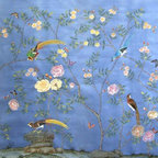 """Rose Wallpaper - Paul Montgomery Studio's """"Rose"""" hand-painted wallpaper can be customized with a vast selection of color choices. Wouldn't this be wonderful in a bedroom or dining room?"""