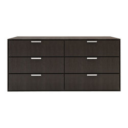 Modloft - Modloft Thompson Modern Dresser - Walnut - Modern Dresser in White Lacquer, Wenge or Walnut belongs to Thompson Collection from LOFT Series by Modloft The Thompson six-drawer split dresser with chrome handles matches any modern bedroom decor. Available in wenge or walnut wood finishes. Also available in white lacquer finish. Assembly required. Dresser (1)
