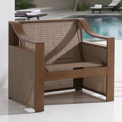 "Hospitality Rattan Venetian Sling Patio Lounge Chair - Dark Bronze - The high arms and modern-inspired shape of the Hospitality Rattan Venetian Sling Patio Lounge Chair - Dark Bronze will make sure that you look as good as you feel while you kick back outside this season. This contemporary sling deep seating known as Venetian incorporates a tubular extruded aluminum frame that's finished with a bronze shade of powder-coat that will help prevent rust, fading and corrosion. An exclusive Twitchel brand Sling fiber is used in place of traditional foam-filled cushions on the seating pieces. The best feature of this set is that it does not require cushions, and is very comfortable. About Hospitality Rattan Hospitality Rattan has been a leading manufacturer and distributor of contract quality rattan, wicker, and bamboo furnishings since 2000. The company's product lines have become dominant in the Casual Rattan, Wicker, and Outdoor Markets because of their quality construction, variety, and attractive design. Designed for buyers who appreciate upscale furniture with a tropical feel, Hospitality Rattan offers a range of indoor and outdoor collections featuring all-aluminum frames woven with Viro or Rehau synthetic wicker fiber that will not fade or crack when subjected to the elements. Hospitality Rattan furniture is manufactured to hospitality specifications and quality standards, which exceed the standards for residential use. Hospitality Rattan's Environmental Commitment Hospitality Rattan is continually looking for ways to limit their impact on the environment and is always trying to use the most environmentally friendly manufacturing techniques and materials possible. The company manufactures the highest quality furniture following sound and responsible environmental policies, with minimal impact on natural resources. Hospitality Rattan is also committed to achieving environmental best practices throughout its activity whenever this is practical and takes responsibility for the development and implementation of environmental best practices throughout all operations. Hospitality Rattan maintains a policy of continuous environmental improvement and therefore is a continuing work in progress. Hospitality Rattan's Environmentally Friendly Manufacturing Process All of Hospitality Rattan products are green. From its basic raw materials of rattan poles, peels, leather, bamboo, abaca, lampacanay, wood, leather strips, and boards, down to other materials like nails, staples, water-based adhesives, finishes, stains, glazes and packing materials, all have minimum impact to the environment and are safe, biodegradable, recycled, and mostly recyclable. Aside from this, the products have undergone an environmentally-friendly process that makes them """"greener."""" The company's rattan components are sourced from sustained-yield managed forests, which means the methods used to grow and harvest the rattan vines ensure the long-term life of the forest and protect the biodiversity of the forest's ecosystems. Hospitality Rattan is committed to buying and using all materials, from rattan and hardwood to finishing materials, from reputable and renewable suppliers and seeks appropriate evidence that suppliers are in compliance with this policy. Hospitality Rattan strives to use materials that are processed in an environmentally responsible manner, or consist of a high level of recycled material. Finishing materials and stains used in Hospitality Rattan's furniture products consist of 75% water-based solutions which evaporate upon application with reduced or Volatile Organic Compounds (VOCs). The furniture factories use water-based glues, stains, topcoats and other finishes on all of their products. The switch from traditional solvent-based processes to water-based processes involved consolidating several processes by the factories, resulting in an 85% reduction in VOC emissions."