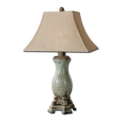 Uttermost - Andelle Light Blue Table Lamp - Renaissance rustic and refined. The elegant tapered form, crackle blue and tan wash and aged bronze details are probably all you need to know to decide that this is the lamp that will complete your Tuscan sitting room. If not, there's always the rectangle burlap bell shade to top things off.