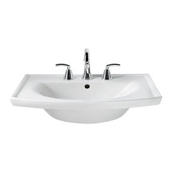 """American Standard - American Standard 0404.008.020 Tropic Grand Viterous China Top, White - American Standard 0404.008.020 Tropic Grand Viterous China Top, White. This grand pedistal sink top features a vitreous china construction, a contemporary style, a rear overflow, a faucet ledge with large deck area, a flat-bottomed basin, and an included mounting kit. This model comes with 8"""" centered faucet mounting holes, and it measures 27"""" by 21"""", with a bowl depth of 6""""."""