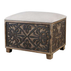 Uttermost Abelardo Cushioned Small Bench - Cushioned bench has neutral linen seat on lightly stained fir wood with rustic, black gate panel sides. Cushioned bench has neutral linen seat on lightly stained fir wood with rustic, black gate panel sides.