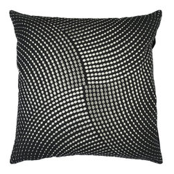 Surya Rugs - Black and Metallic Silver Dot 22 x 22 Pillow - Stylish metallic circles of intricate detail make this pillow an elegant edition to any space. Colors of black and silver accent this decorative pillow. This pillow contains a poly fill and a zipper closure. Add this 22 x 22 pillow to your collection today.  - Includes one poly-fiber filled insert and one pillow cover.   - Pillow cover material: 100% Cotton Surya Rugs - P0223-2222P