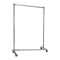 Z Racks - Heavy Duty Z-Rack Garment Rack w 5 ft. Single - Base Color: Silver. 500lb capacity. 14 gauge, 60 in. Long steel base (Environmentally safe powder coated finish ). 16 gauge, 72 in. upright bars and hang rail. 1 5/16 outside diameter upright bars and hang rail. Grey non-marking soft rubber with TP center 4 in. casters. Made in the USA. 63 in. L x 23 in. W x 79 in. HThe apparel industry relies on space-saving clothes racks for many reasons but because the shape of the Z-Rack folds right into another unit, it is able to be moved out of the way. More floor space is a great reason to choose it, but so is this rack�۪s long-lasting durability. Able to hold 500 lbs, with a five foot base and uprights that extend up to six feet, it�۪s a mobile multi-purpose rack that can provide needed storage and organization anywhere you need more hanging space.