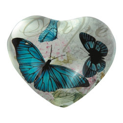 "GSC - Heart-Shaped 'Hope' Paperweight With Blue Butterflies - This gorgeous 4 Inch Heart Shaped ""Hope"" Design Paper Weight with Blue Butterflies has the finest details and highest quality you will find anywhere! 4 Inch Heart Shaped ""Hope"" Design Paper Weight with Blue Butterflies is truly remarkable."