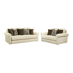 """Benchley - 2-Piece Majestic Dove Fabric Upholstered Sofa and Love Seat Set - 2-Piece Majestic dove fabric upholstered sofa and love seat set with rounded padded arms and nail head trim accents. Sofa measures 91"""" x 47"""" x 40"""" h. Love seat measures 66"""" x 47"""" x 40"""" h. Chair and ottoman also available separately. This set comes as shown or available in dark brown and flannel color also."""