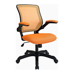 "LexMod - Veer Office Chair in Orange - Veer Office Chair in Orange - Chart new territory while seated from the comfort of the Veer Chair. Veer features a form-fitted breathable mesh back and padded waterfall mesh seat to keep your back and thighs posture perfect. Easily adjust the height of Veer's arms to match your seating position and height. Securely lock your back in place with a user friendly seat tilt plus tension control knob--perfect for adjusting the chair to correctly fit your body weight. Adjust the seat height with a one-touch pneumatic lift with hooded dual-wheel casters to ensure effortless gliding over carpeted offices. Veer is a chair built for the progressive worker. Make yourself stand out as you venture forth from a place of naturally efficacious activities. Set Includes: One - Veer Office Chair with Mesh Back and Mesh Fabric Seat Breathable mesh back, Sponge seat covered with a mesh fabric, Pneumatic height adjustment, Tilt tension control, Flip-up arms Overall Product Dimensions: 25.5""L x 24""W x 37 - 40""H Seat Dimensions: 18""L x 18""WBACKrest Dimensions: 21""L x 18""W Armrest Height: 26.5 - 29.5""H - Mid Century Modern Furniture."