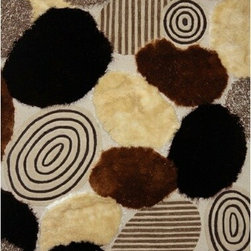 Rug Factory - Shaggy Design 22Circles 2' x 3' Size Area Rug - Shaggy design 22circles 2' x 3' size area rug. These shags offer a dense, shed free, easy to clean and sensuously soft surface that is sure to be a toe curling pleaser. Vibrant colors, geometric patterns and designs. are hand tufted using a blend of ultra fine raw materials for a plush and soft feel.