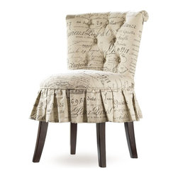 Hooker Furniture - Melange Fifi Vanity Chair - Unabashedly feminine, the Fifi is all ruffles, accentuated by a tufted back on the Lacefield Document Fossil Fabric.