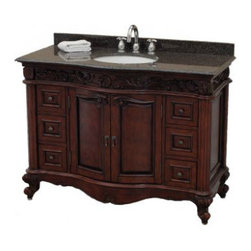 Pegasus Estates Vanity in Rich Mahogany with Granite Vanity Top - This pretty traditional vanity looks like an antique found and turned into a special piece for your space. I've even done this with a real vintage find by cutting out and adding the sink to personalize my bathroom even more.