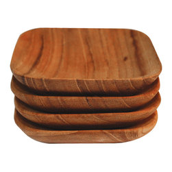 Be Home - Teak Square Herb/Salt Bowls, Set of 4 - The beautiful lines and square shape of these teak bowls will show off your favorite herbs or specialty salt. And you can display with a clear conscience; the wood is ecologically harvested using teak that is left over from the logging industry.