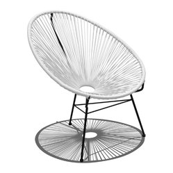 Harmonia Living - Acapulco Patio Chair, White Lightning - Call for the lemonade, put up your feet and let this patio chair cool you off. Shaped like a fan, the woven structure lets the breeze flow around your entire body. Incredibly comfortable, it's easy to clean and durable because its weather-resistant powder-coated steel frame practically shirks dirt.