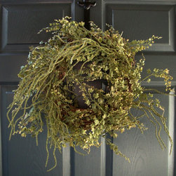 Rustic Fern Wreath by HomeHearthGarden - This attractive door wreath captures seasons with artificial maidenhair ferns and berry bush on a grapevine wreath. A natural look for the front door or wall.