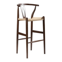 "Baxton Studio - Baxton Studio Mid-Century Modern Wishbone Stool - Dark Brown Wood Y Stool - This mid-century bar chair features traditional wood construction paired with a modern form, resulting in a unique piece for your home. The frame consists of solid wood with a dark brown finish, a curved backrest, and a sturdy, taut unfinished natural hemp cord seat. This item will arrive fully assembled and is also available in natural, green, black, or white and as a dining chair in natural, dark brown, pink, green, black, or white (each sold separately). This is a quality reproduction of the Hans Wegner Wishbone Chair, which is also known as the Wegner Y Chair, Carl Hansen Wishbone Chair, CH24 Wishbone Chair, and the Wegner CH24.  Seat dimension: 28.5"" H x 17"" W x 15"" DDimensions: 40.75"" H x 19.5"" W x 18"" D"